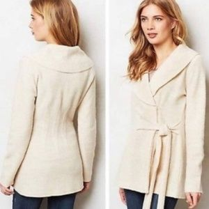 Rosie Neira Ivory Boiled Wool Wrap Cardigan M